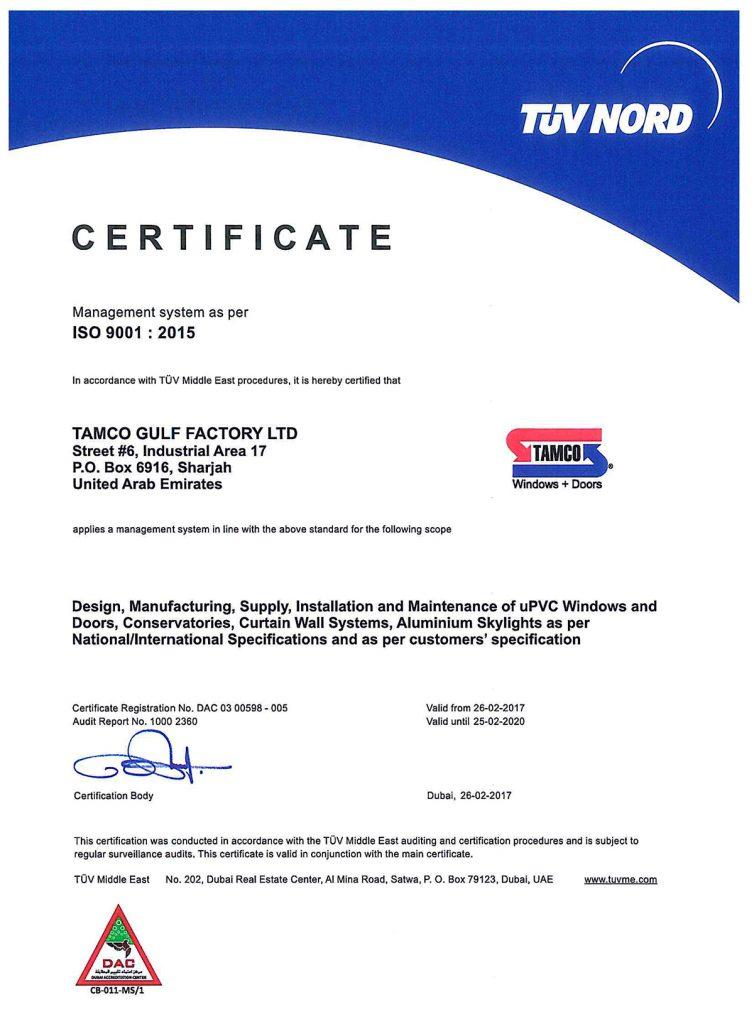 Certification Tamco Gulf Ltd